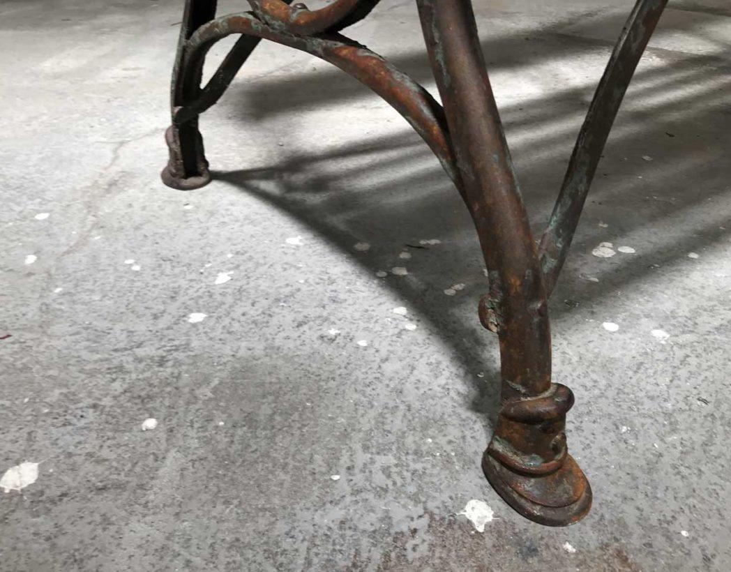 Ancien banc de jardin bois et demi fer rond patine d 39 origine for Banc de jardin ancien en bois